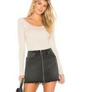 "Free People ""Zip It Up"" Black Denim Mini Skirt NWT"
